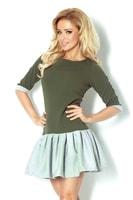 Zelené šaty s šedou sukní