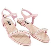 Ploché sandály s korálky růžové