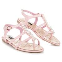 Stylové sandály s korálky růžové