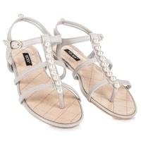 Stylové sandály s korálky šedé