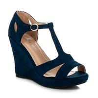 Semišové sandály se zabudovanou patou modré