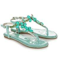 Lakované sandály mint crystals
