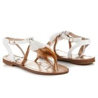 Sandály s peřím bílé
