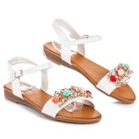 Letní obuv s ozdobami bílé