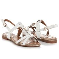 Ploché nastavitelné sandály bílé