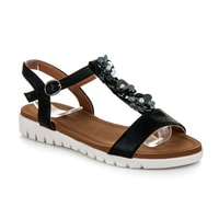 Lehké sandály s kytičkami černé