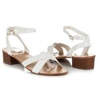 Sandály na nízkém podpatku bílé