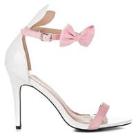 Lakované sandály s oušky bílé
