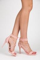 Růžové sandály na podpatku