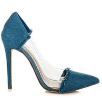 Průsvitné džínové lodičky modré