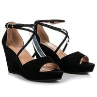 Semišové boty na klínu s ozdobami černé