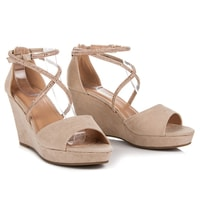Semišové boty na klínu s ozdobami béžové
