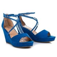 Semišové boty na klínu s ozdobami modré