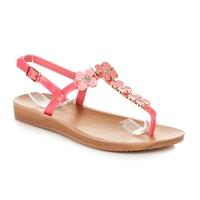 Lakované ploché sandály růžové