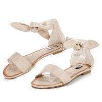 Semišové vázané sandály béžové