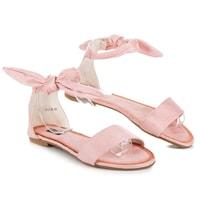 Semišové vázané sandály růžové