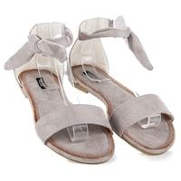 Semišové vázané sandály šedé