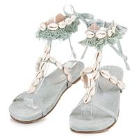 Vázané sandály s mušličkami modré