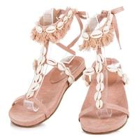 Vázané sandály s mušličkami růžové
