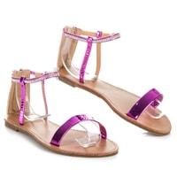 Lakované sandály na zip fialové
