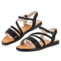 Černé sandály s kamínky