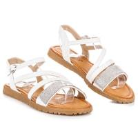 Bílé sandály s kamínky