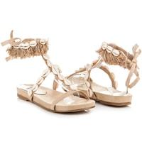 Vázané sandály s mušličkami béžové