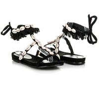 Vázané sandály s mušličkami černé