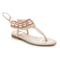 Vázané sandály etno béžové