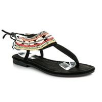 Vázané sandály etno černé