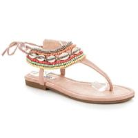 Vázané sandály etno růžové