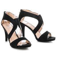 Semišové sandály na podpatku