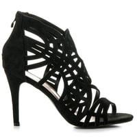 Ažurové sandály na zip černé