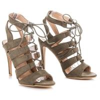 Vázané sandály na podpatku hnědé