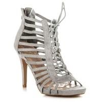 Vázané sandály s ažurovým vzorem šedé