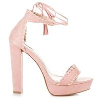 Boho sandály na sloupku růžové