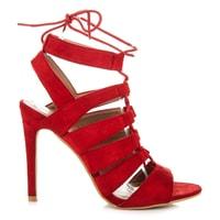 Vázané sandály na podpatku červené