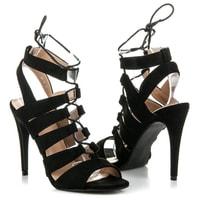 Vázané sandály na podpatku černé