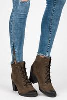 Khaki kotníkové kožené boty