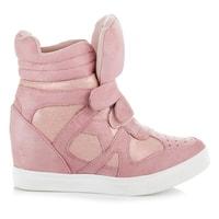 Podzimní boty na klínu růžové