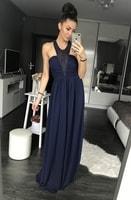 Dámské dlouhé šaty tmavě modré