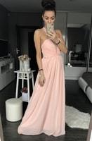 Dámské dlouhé šaty růžové s perličkami