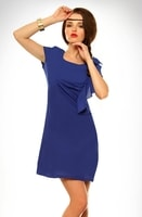 Dámské elegantní šaty s volánem modré