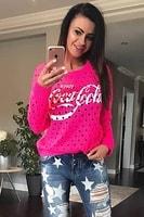 Dámský neonově růžový svetr s nápisem