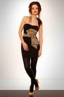 Minišaty bez ramínek s leopardí mašlí černé