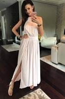Pudrově růžové maxi šaty