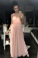 Dámské dlouhé šaty s perličkami růžové
