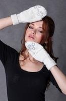 Vlněné rukavice s kamínky béžové