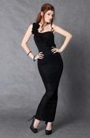 Dlouhé večerní šaty na jedno rameno černé