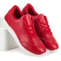 Vázaná dámská obuv červená